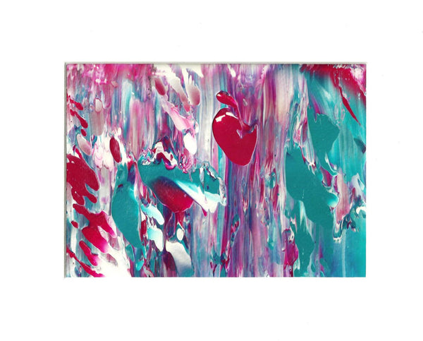 Cherry Blossom Original Wall Art Abstract Acrylic Painting in White Mat