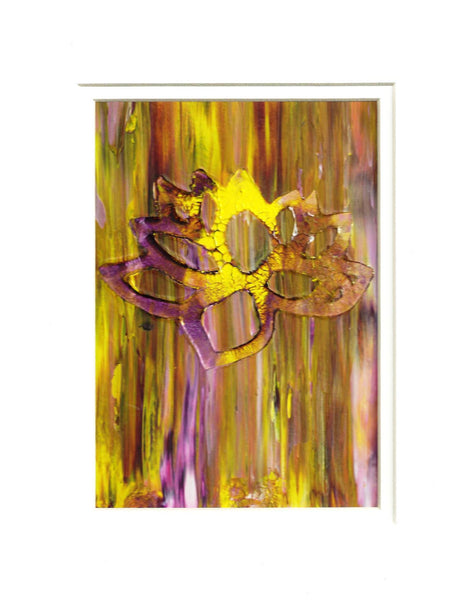 Yellow Lotus Flower Original Abstract Acrylic Painting