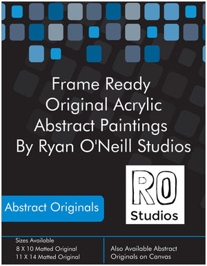 Yin & Yang  Original Acrylic Abstract Painting Fine Art in Double White Mat by Ryan O'Neill