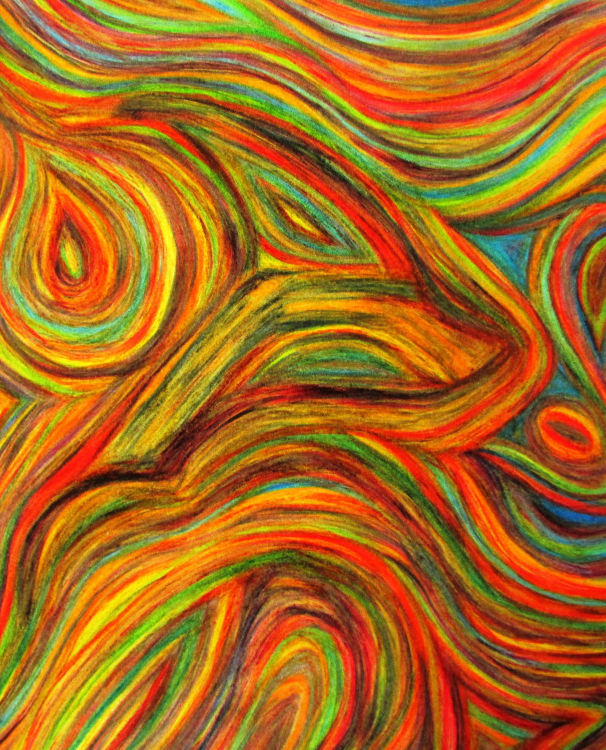 Spirit Animal Abstract Original Tr-Color Pencil Drawing