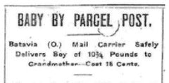 Baby by parcel post.