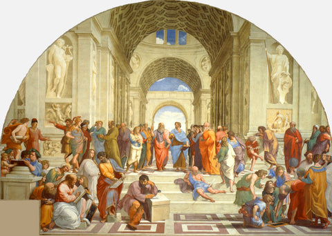 Philosophers congregating in 'The school of Athens'.