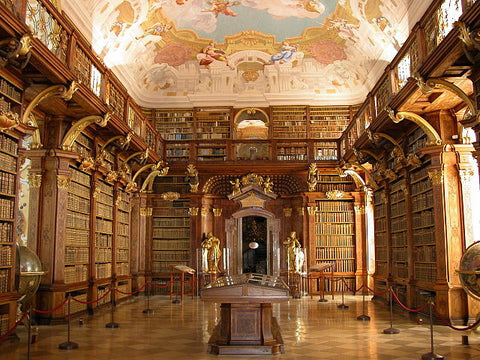 Melk abbey, a Benedictine abbey in Austria, on a rocky outcrop overlooking the Danube river. This image shows the impressive library.