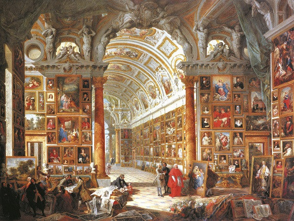 This great piece by Panini, Giovanni Paolo shows the interior of picture gallery. The walls are full of paintings. You could do the same with our postcards in your apartment.