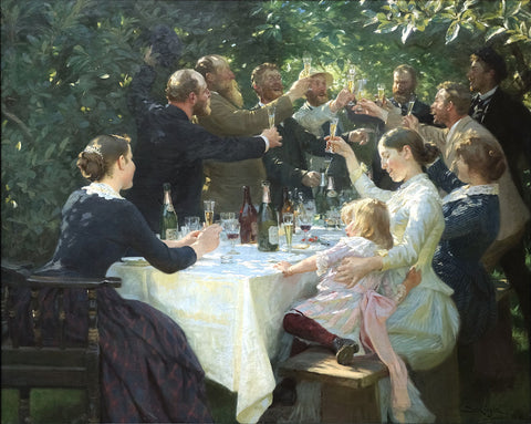 A painted party scene. Are they celebrating postcards?