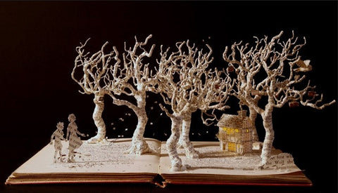 Su Blackwell's book sculpture titled 'Once Upon a Time, 2016'.