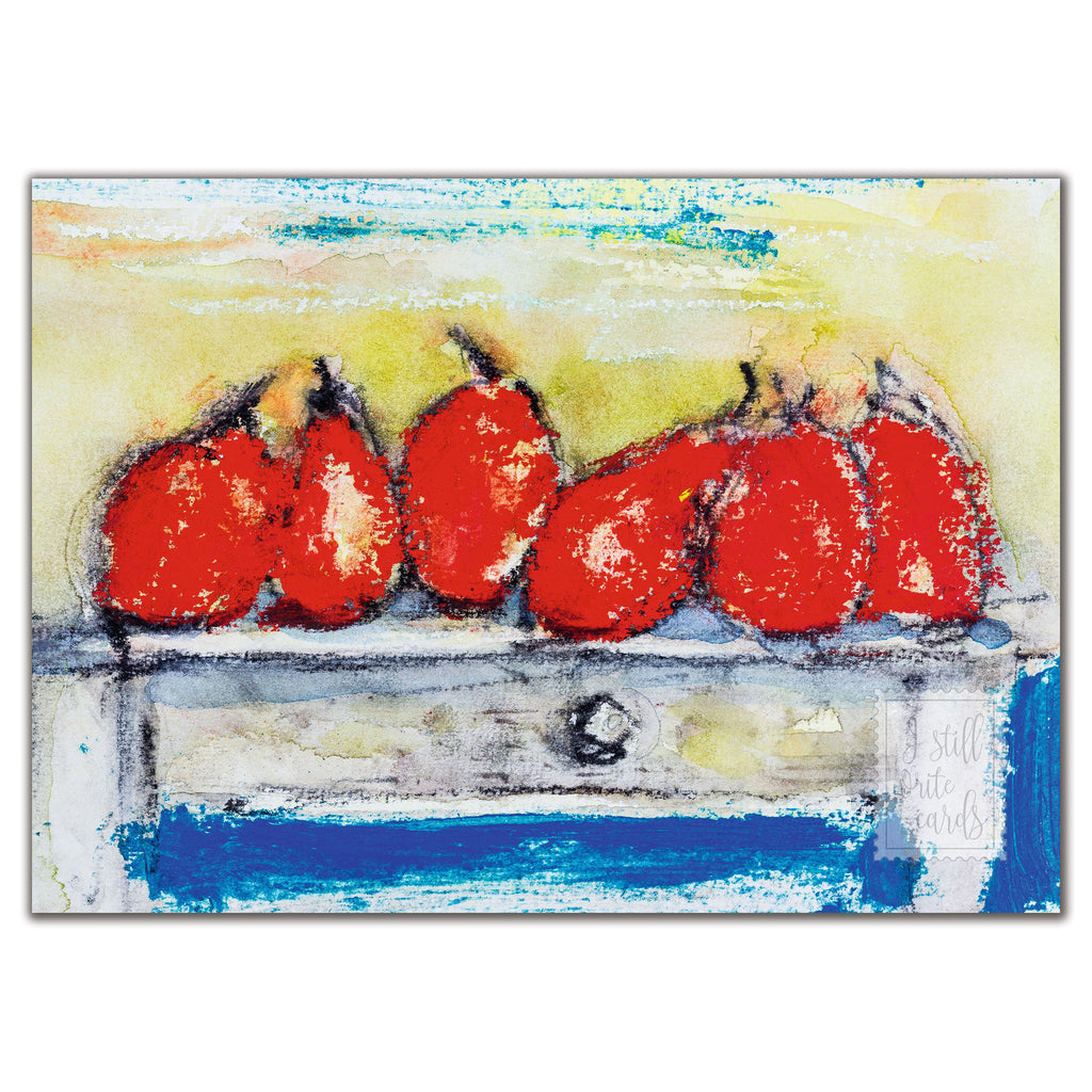 Red pears on a table