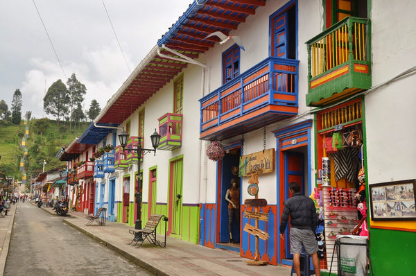Colorful doorways in Salento, Colombia