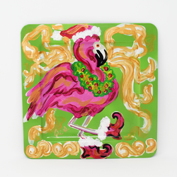 Christmas Flamingo Tray