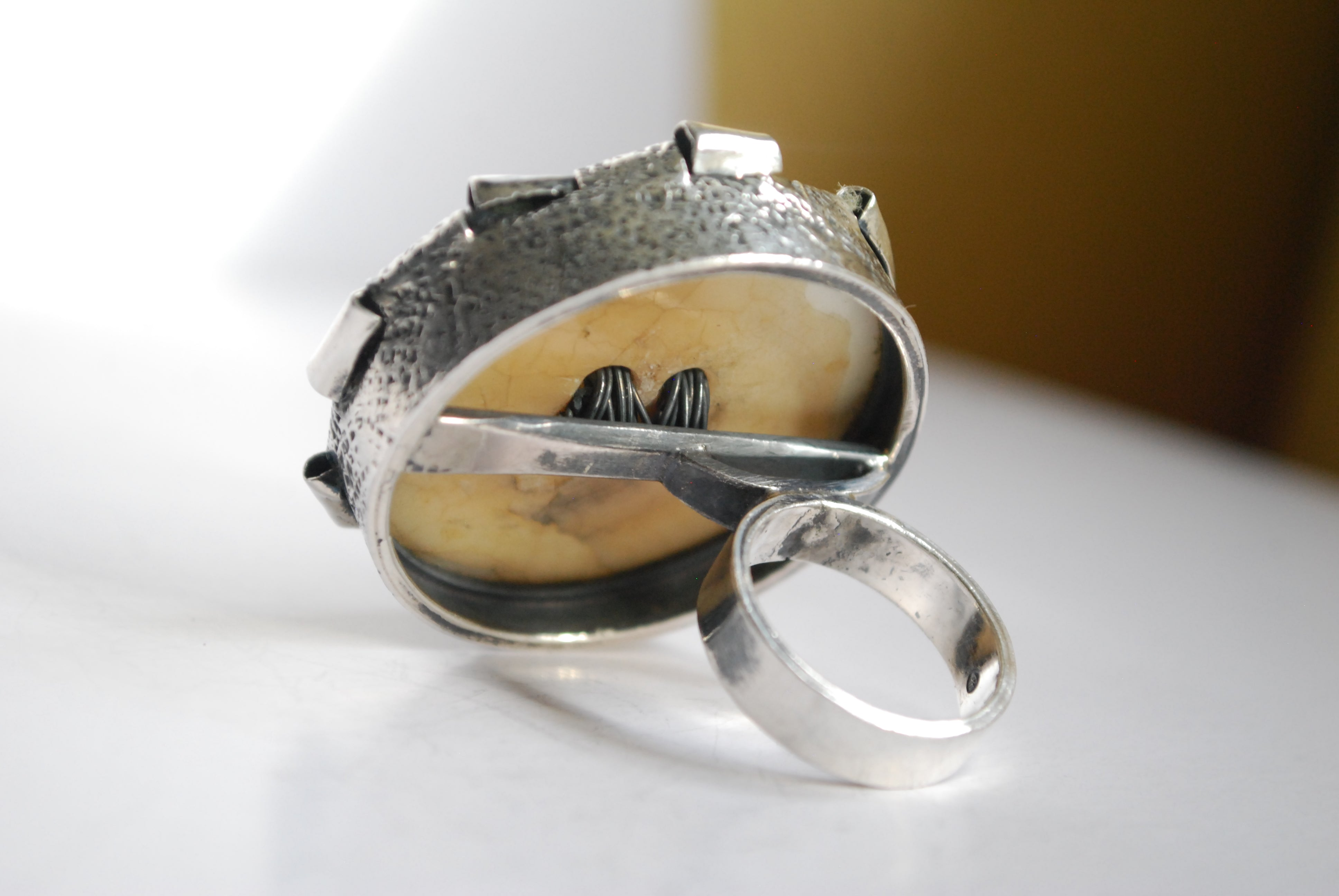 folded over silver button ring