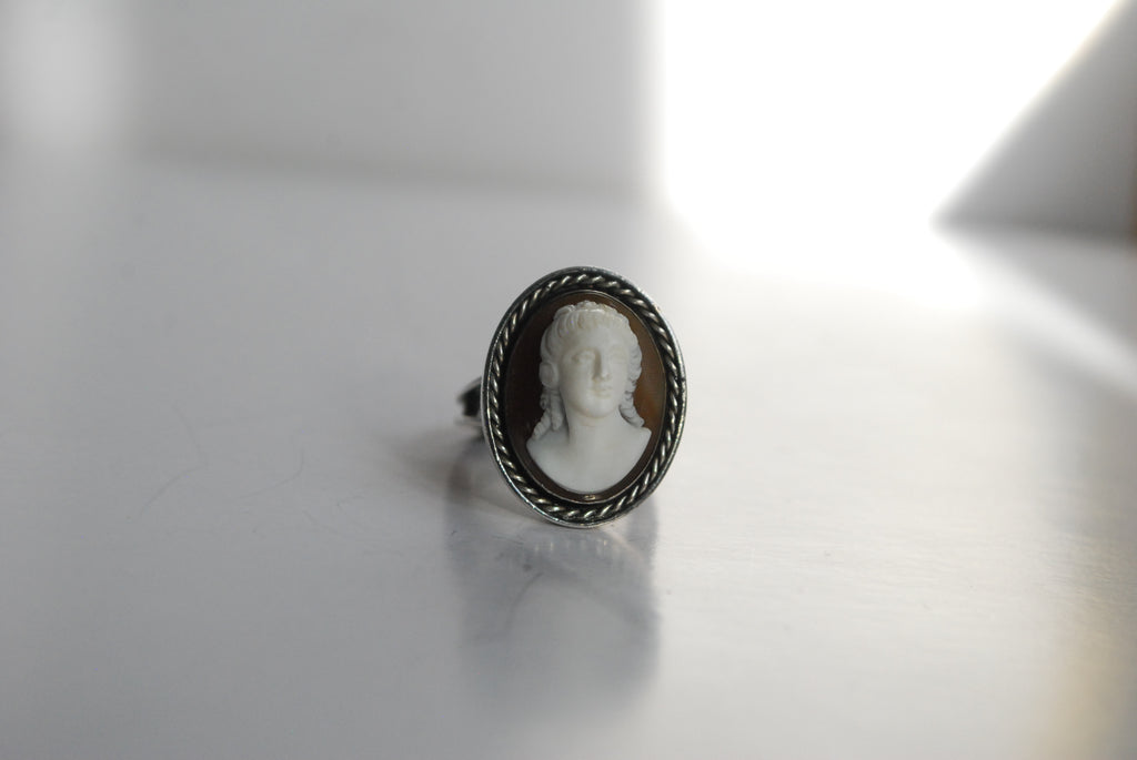 brown cameo ring