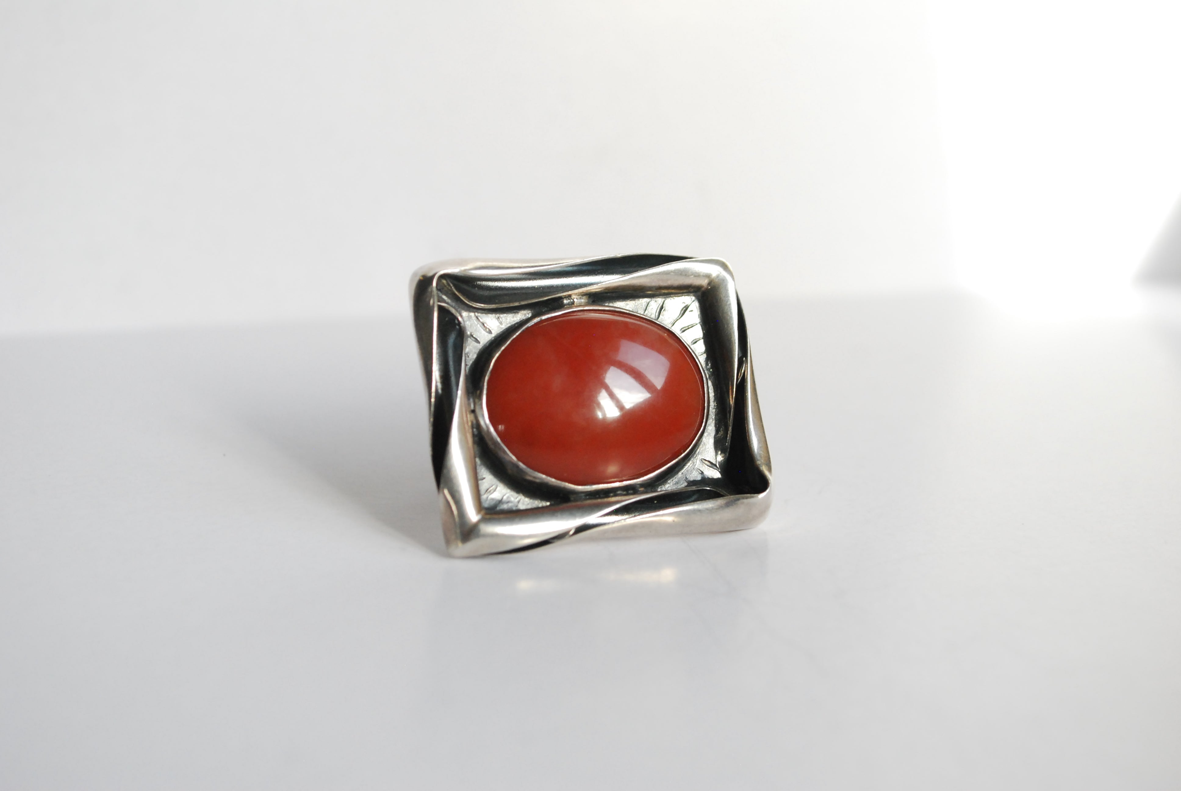 coral oval ring