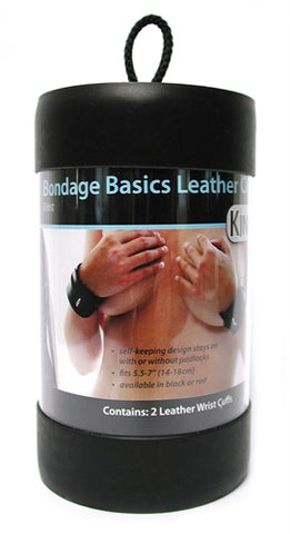Bondage Basics Black Leather Wrist Cuffs KL-161B