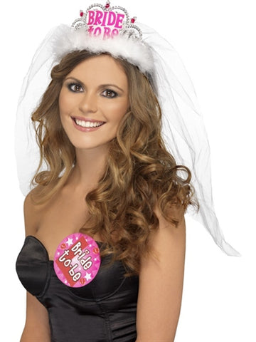 Bride to Be Tiara With Veil - White FV-31913