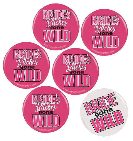 Bride Gone Wild Button Assortment  - 6 Buttons GFF-1003