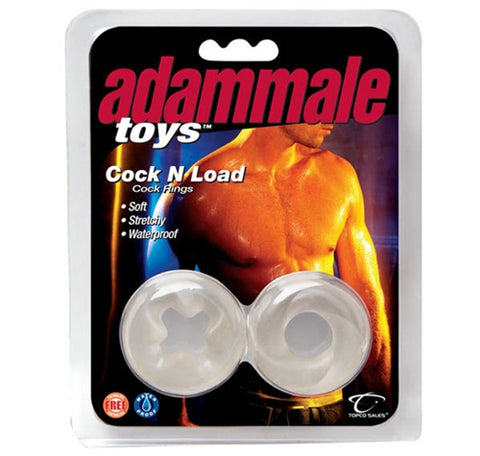 Adammale Toys Cock N Load Cock Rings - Clear TS1486012