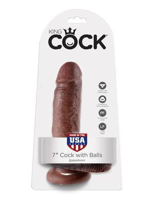 King Cock 7-inch Cock with  Balls - Brown