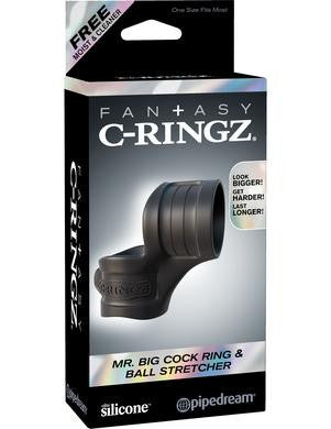 Fantasy C-ringz Mr Big Cock Ring and Ball Stretcher - Black