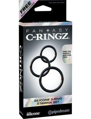 Fantasy C-ringz Silicone 3 Ring Stamina Set - Black