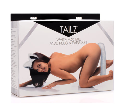 White Fox Tail Anal Plug and Ears Set