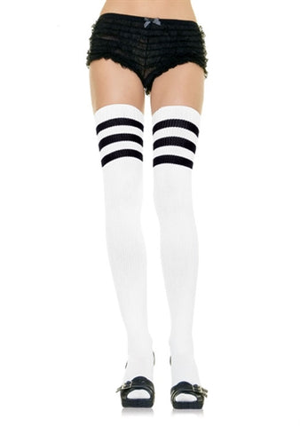 Athletic Ribbed Thigh Highs - White - One Size LA-6605WHT