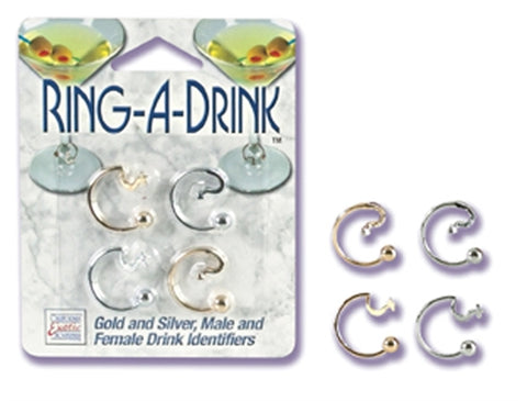 Ring a Drink Gold and Silver Male and Female Drink Identifiers SE2408002