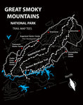Great Smoky Mountains Trail Map Tees Long Sleeve T-Shirt