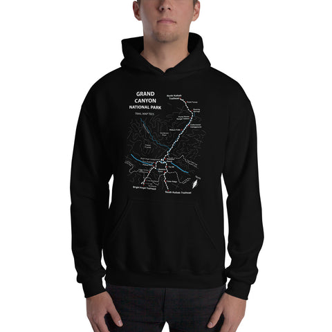 Grand Canyon Trail Map Tees Unisex Hooded Sweatshirt