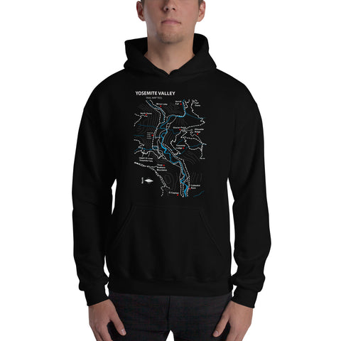 Yosemite National Park Trail Map Tees Unisex Hooded Sweatshirt