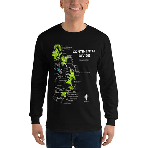 Continental Divide Trail Map Tees Unisex Long Sleeve Shirt