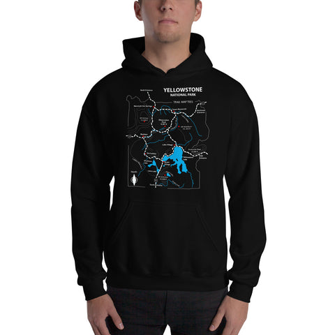 Yellowstone National Park Trail Map Tees Unisex Hooded Sweatshirt