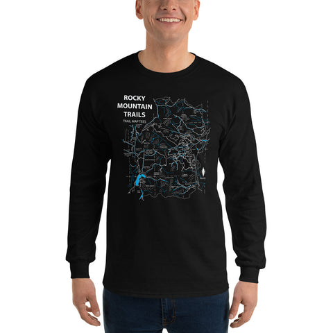 Rocky Mountains Trail Map Tees Long Sleeve Unisex Shirt