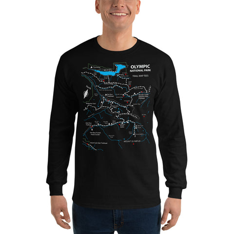 Olympic National Park Trail Map Tees Long Sleeve T-Shirt