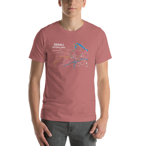 Denali National Park Trail Map Tees Short-Sleeve Unisex Shirt