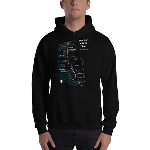 Pacific Crest Trail Map Tees Unisex Hooded Sweatshirt