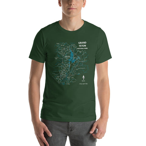 Grand Teton National Park Trail Map Tees Short-Sleeve Unisex Shirt