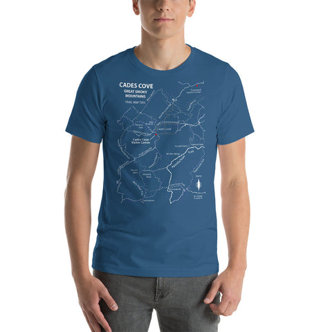 Cades Cove Great Smoky Mountains Trail Map Tees Short-Sleeve Unisex Shirt