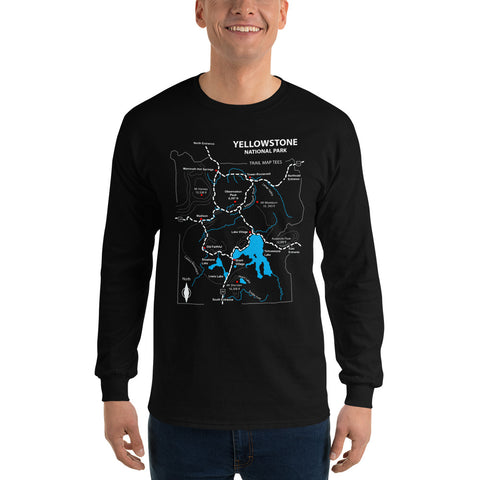 Yellowstone National Park Trail Map Tees Long Sleeve T-Shirt