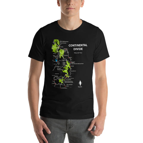 Continental Divide Trail Map Tees Short-Sleeve Unisex Shirt