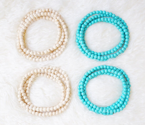 White & Turquoise Double Wrap Necklace
