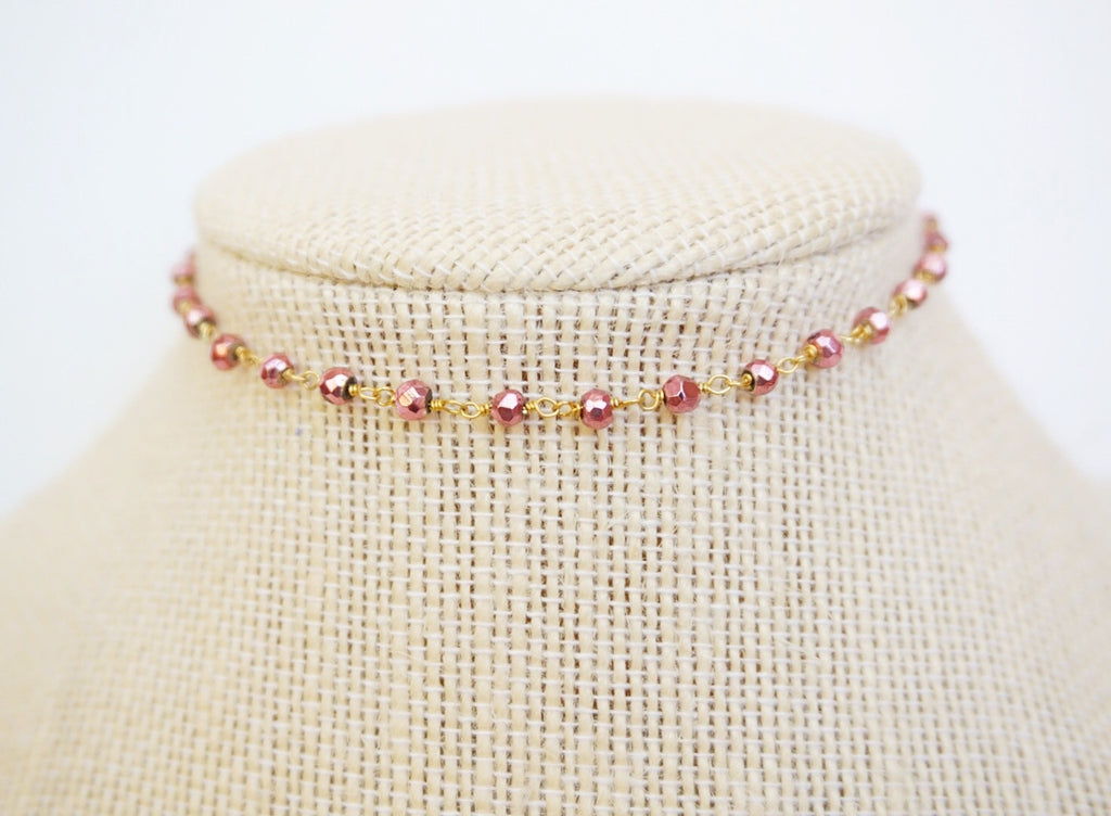 Rose Gold Pyrite Choker