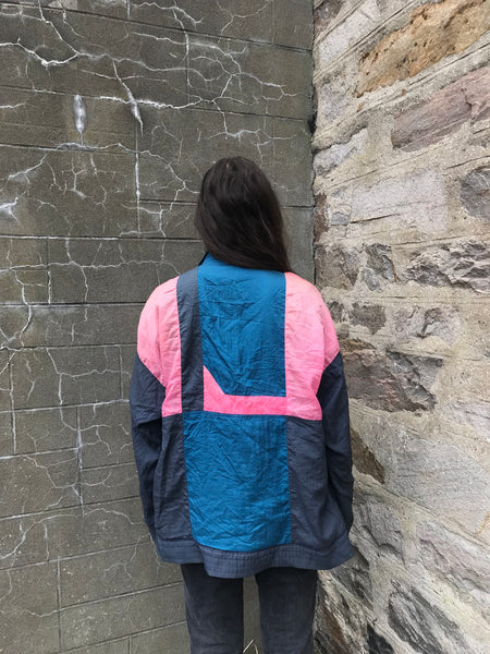 Vintage Unisex Oversized Windbreaker Festival Wavy Shell Jacket Pink, Blue & Grey