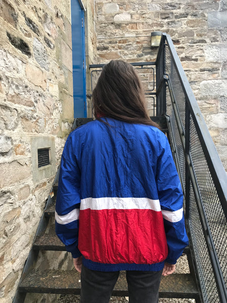 Vintage Unisex Oversized Windbreaker Wavy Festival Shell Jacket Blue & Red