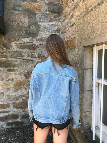 Vintage Oversized Unisex Mid Blue Denim Jacket