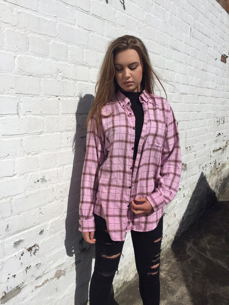 Unisex Vintage Checked Oversized 90's Pink Flannel Shirt