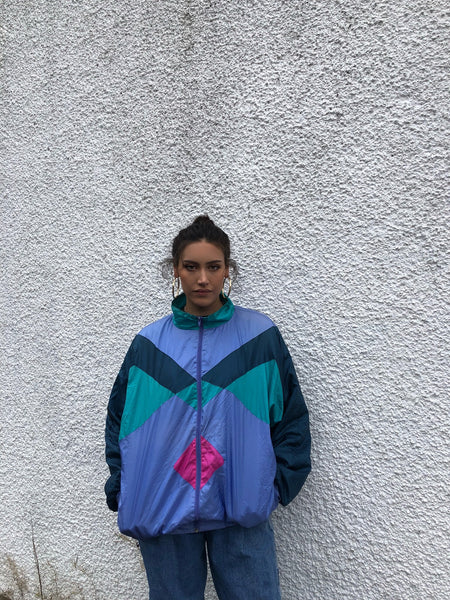 Vintage Unisex Retro Colourful Oversized Windbreaker Festival Shell Jacket