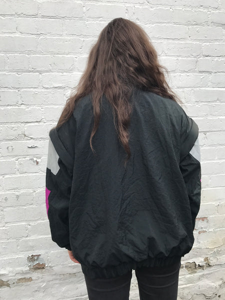 Vintage Unisex Windbreaker Shell Jacket Pink & Black