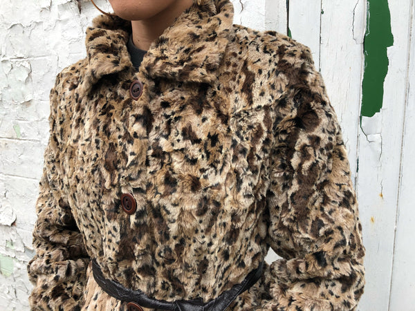 Vintage 90s Faux Fur Leopard Print Brown Animal Print Belted Coat / Jacket