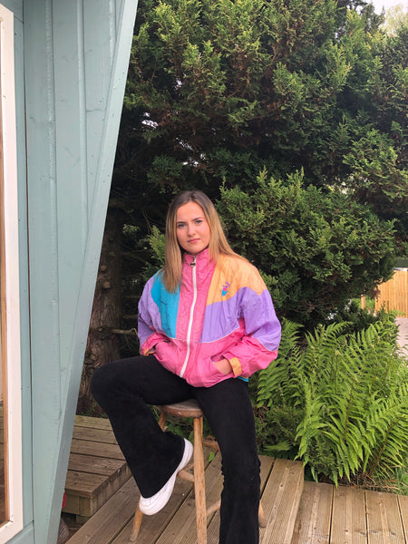 Vintage Puma Oversized Retro Festival Colourful Windbreaker Shell Jacket