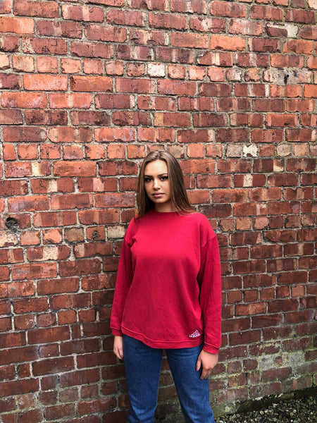 Vintage Adidas Unisex Red Sweatshirt / Jumper / Sweater